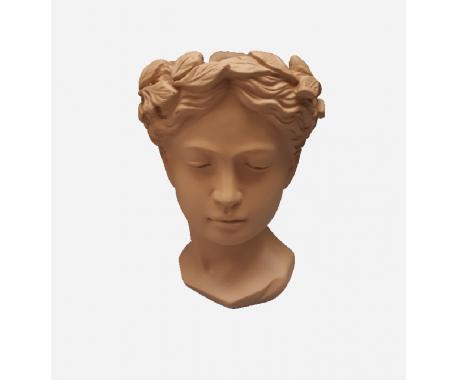 Ceramic Clay Face Design Brown 20x12 cm