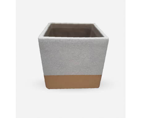 Ceramic Clay Square White with Gold 12x12